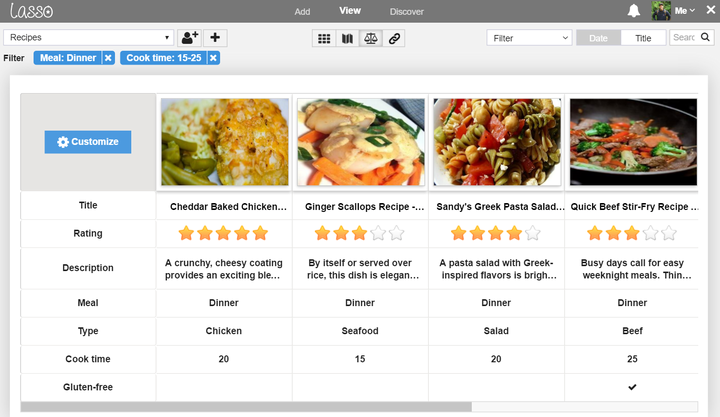 Lasso - organize great content such as recipes