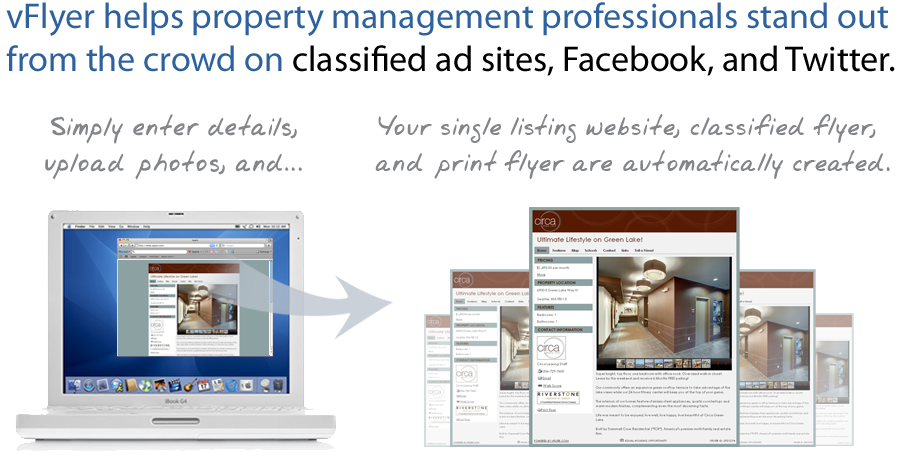vFlyer helps property managers stand out from the crowd on sites like Facebook, Twitter