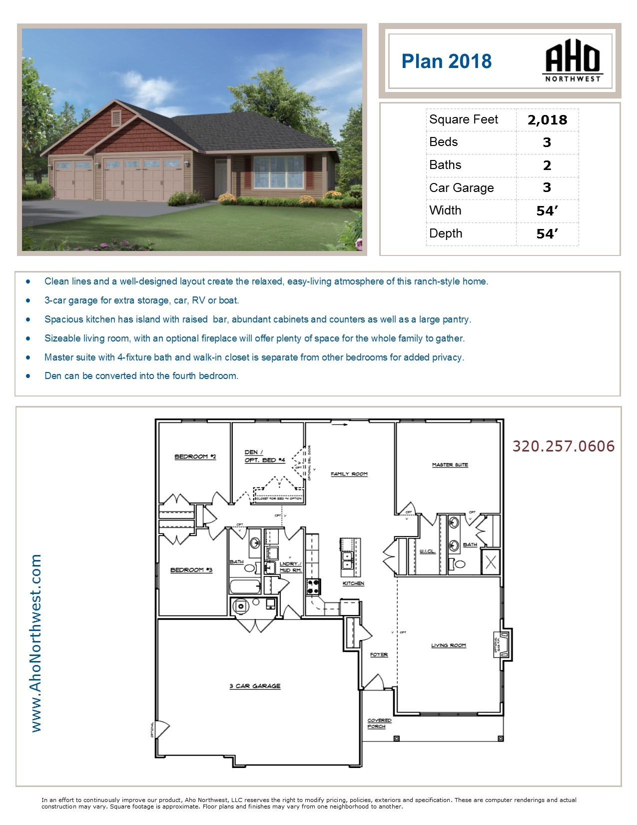 Plan 1413 aho northwest for Aho construction floor plans