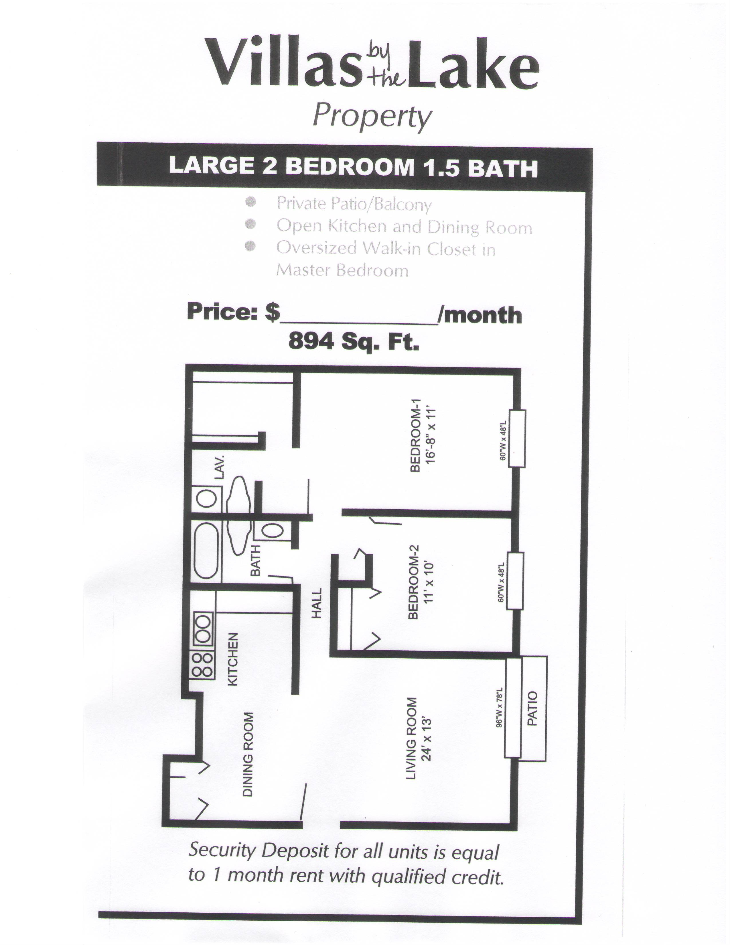 2 Bedroom 15 Bathrooms Large Floorplan Floor Plan Pace Realty