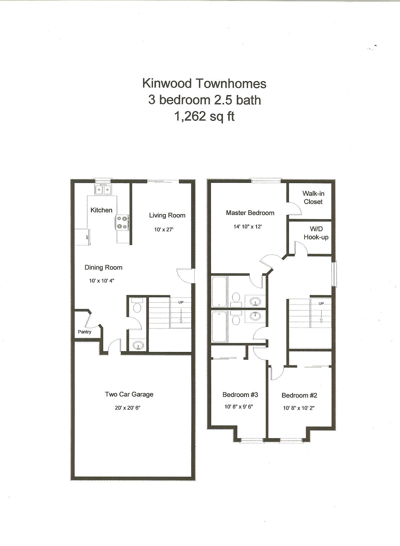 3 Br 2 5 Ba The Kinwood Townhomes Floor Plan Jackson Rental Properties
